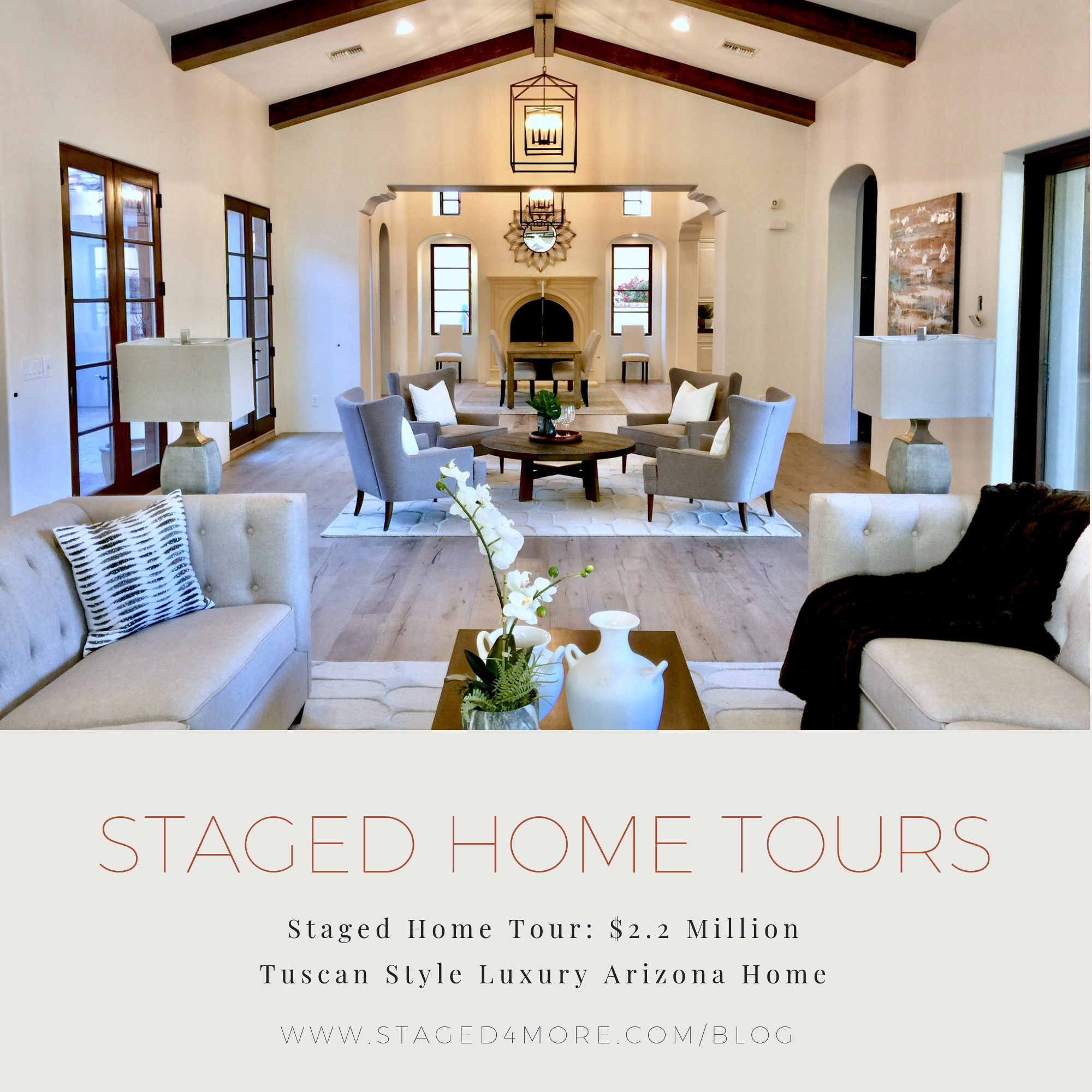 Staged Home Tour: $2.2 Million Tuscan Style Luxury Arizona Home | Staged4more School of Home Staging