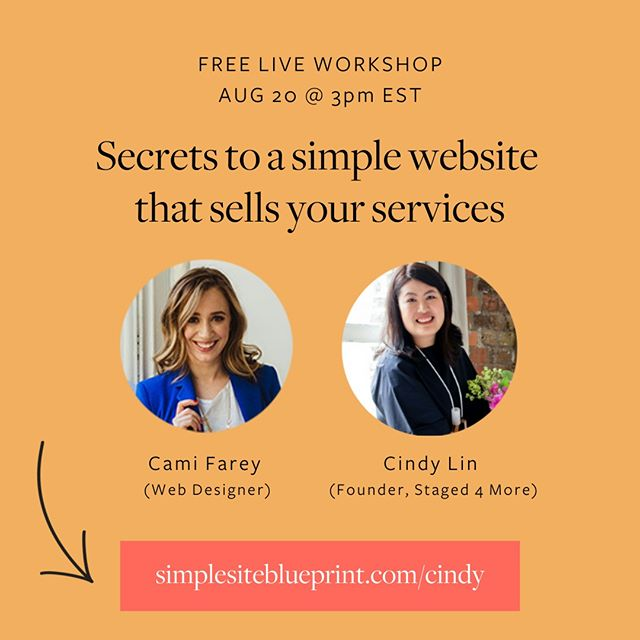 See you soon? 🤓⠀⠀⠀⠀⠀⠀⠀⠀⠀ ⠀⠀⠀⠀⠀⠀⠀⠀⠀ ✨ I'm teaming up with my web designer friend @camifarey to teach you how to create a simple website that sells your home staging services. ⠀⠀⠀⠀⠀⠀⠀⠀⠀ ⠀⠀⠀⠀⠀⠀⠀⠀⠀ 🙌 We're going live on Tuesday, August 20 @ 3pm EST / 12pm PST⠀⠀⠀⠀⠀⠀⠀⠀⠀ ⠀⠀⠀⠀⠀⠀⠀⠀⠀ 💎 You're going to learn… ⠀⠀⠀⠀⠀⠀⠀⠀⠀ ⠀⠀⠀⠀⠀⠀⠀⠀⠀    How creativity can kill sales on your website (and what to do instead if you want a website that sells your home staging services 24/7) ⠀⠀⠀⠀⠀⠀⠀⠀⠀ ⠀⠀⠀⠀⠀⠀⠀⠀⠀    A 1-sentence hack to help you plan your website in 5 minutes or less (most people miss this step!) ⠀⠀⠀⠀⠀⠀⠀⠀⠀ ⠀⠀⠀⠀⠀⠀⠀⠀⠀    The 5 things your homepage must have if you want to create Beyoncé-level buzz for your home staging business⠀⠀⠀⠀⠀⠀⠀⠀⠀ ⠀⠀⠀⠀⠀⠀⠀⠀⠀    The best website platform for home stagers — if you're busy or not tech savvy, you're going to love this sleek, simple option! ⠀⠀⠀⠀⠀⠀⠀⠀⠀ Save your seat at https://www.simplesiteblueprint.com/cindy (or use the link in profile ☝️)⠀⠀⠀⠀⠀⠀⠀⠀⠀ ⠀⠀⠀⠀⠀⠀⠀⠀⠀ (There will be a limited-time replay, but only if you sign up!) ❤️⠀⠀⠀⠀⠀⠀⠀⠀⠀ ⠀⠀⠀⠀⠀⠀⠀⠀⠀ .⠀⠀⠀⠀⠀⠀⠀⠀⠀ .⠀⠀⠀⠀⠀⠀⠀⠀⠀ .⠀⠀⠀⠀⠀⠀⠀⠀⠀ .⠀⠀⠀⠀⠀⠀⠀⠀⠀ .⠀⠀⠀⠀⠀⠀⠀⠀⠀ #homestaging #homestagers #homestager #homestagingtips #homestagerslife #stagingtips #homestagingsells #homestagingideas #homestaginglovers #stagingworks #vacanthomestaging #homestagingworks #interiorstyling #propertystylist #homesearch #homestylist #justlisted #staginghomes #stagedhomes #stagingsells #staging #stagingworks #iloverealestate #stagedhometours #homestyling #realestatetraining #homestagingschool #homestagingtraining #homestagingcourse #homestagingcourses