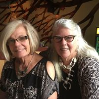 """Gallery owners Betsy Byrne Hubner & Cathleen """"Chrystal"""" DeCoster"""