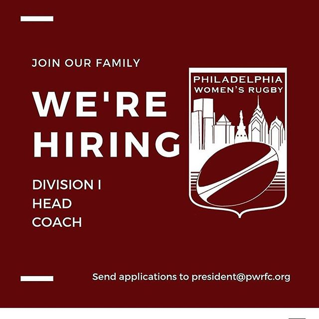 **ATTENTION!** PWRFC is still accepting applications for the position of Division I Head Coach, effective Fall 2019.  The ideal candidate has senior club or collegiate level coaching experience, is able to commit to twice weekly practices and Saturday games, and is interested in coaching both elite and developmental players.  Applicants for the position of DI Head Coach must be able to work with the DIII Head Coach and assistant coaches to design and implement practices and communicate with all players, including providing feedback to develop the individual and team game strategy.  Applicants will be reviewed on a rolling basis, with a goal of on-boarding by mid-August. If interested, please send your coaching resume or any questions to President@pwrfc.org. Full position details attached and on website in bio.  @usarugby @eastpennrugby