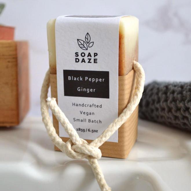 Soap Daze Black Pepper ginger soap on a rope