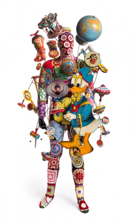 Nick Cave. Soundsuit , 2016. Mixed media, including vintage toys, wire, metal and mannequin, 84 x 45 x 40 in. Courtesy of the Lewis Family. © Nick Cave. Photo: James Prinz Photography