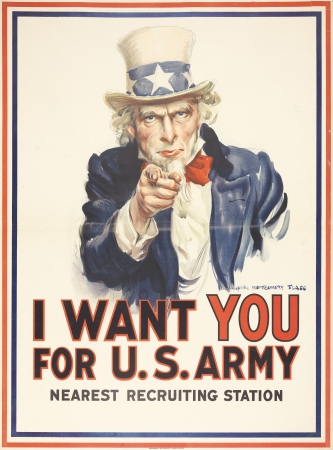 James Montgomery Flagg (1877–1960). I Want YOU for U.S. Army, Nearest Recruiting Station ,1917. Poster, 40 x 29 1/2 in. Collection of Walton Rawls. Photo: The Library Company of Philadelphia