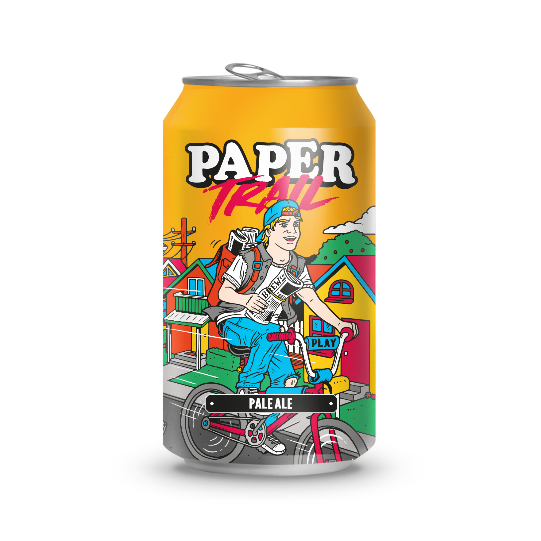 PAPER TRAILPALE ALE - A fresh, delicious and drinkable aromatic pale ale jumping with a huge pop of big, punchy tropical flavours delivered straight from the USA.Paper Trail is a love-letter to everyone's favourite game growing up, Paperboy.The best part is we deliver to your door with the help of our friends, 10 Devonshire Place.Ingredients:Water, Barley, Hops, Yeast.Allergen warnings are in bold.Hops:Mosaic and Citra 4.4% ABV / 1.4 UK UNITS