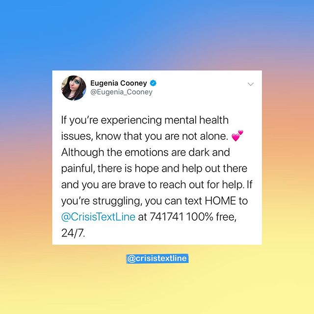Empathy, bravery—that's what we're all about. We love when communities come together to help people find support and build a positive community. Thank you @eugeniacooney and @shanedawson for bringing attention to such an important issue. We're proud of you for being so vulnerable about a topic that is tough to be open about! #741741 . . . #eugeniacooney #shanedawson #edawareness #recovery #eatingdisorderrecovery #edrecovery