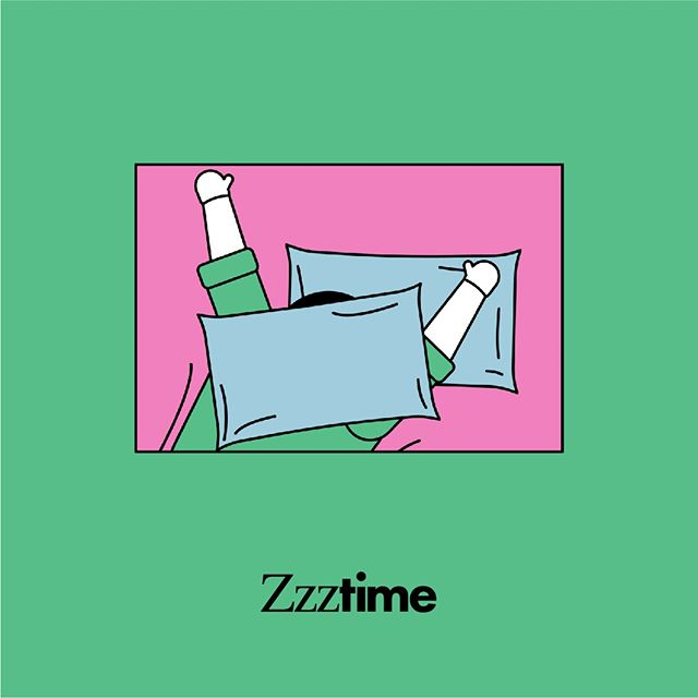 "Starting a new week can be tiring, so make sure to get some Zzztime today! Sleep directly affects your mental health and can help you feel re-energized and refreshed. #SelfCareTime . . . #accessibility image description: a person wearing a green shirt is covered by blue pillows inside of a pink rectangle, with a green background. ""Zzztime"" is written beneath it."