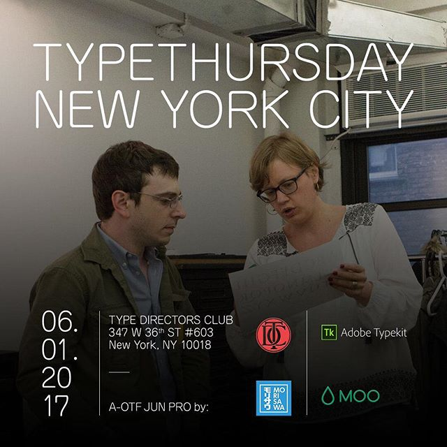 #TypeThursdayNYC is ONE WEEK AWAY! Join us for drinks at our June event hosted at TDC ! . Last minute RSVP tickets are kicking in today! Make sure to RSVP via this link below 👇: http://ow.ly/pVMv30c2JjD . . . #TypeThursday #TBTT #ThrowBackTypeThursday #TBT #typeverything #typography #lettering #calligraphy #NYC #newyorkcity #typedirectorsclub #tdc #morisawa #AOTFJUNPRO #moo #typekit #graphicdesign #font #fonts #design #typespire #type #design #ux #ui