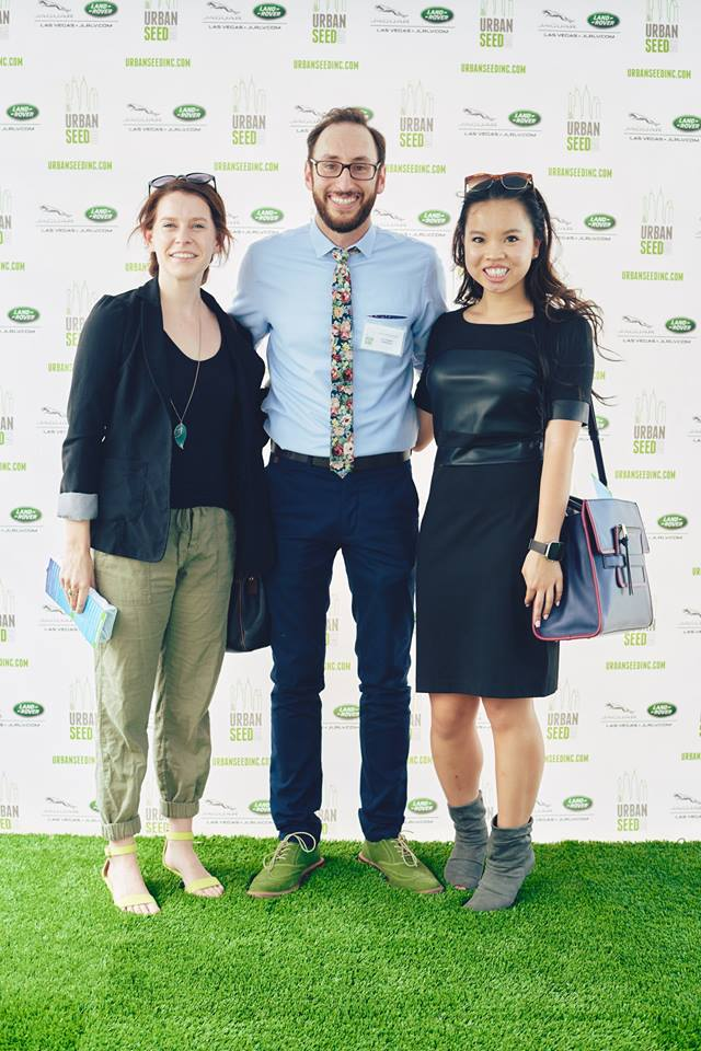 Tierra, the author, stands with her coworkers at an event sponsored by her internship host.