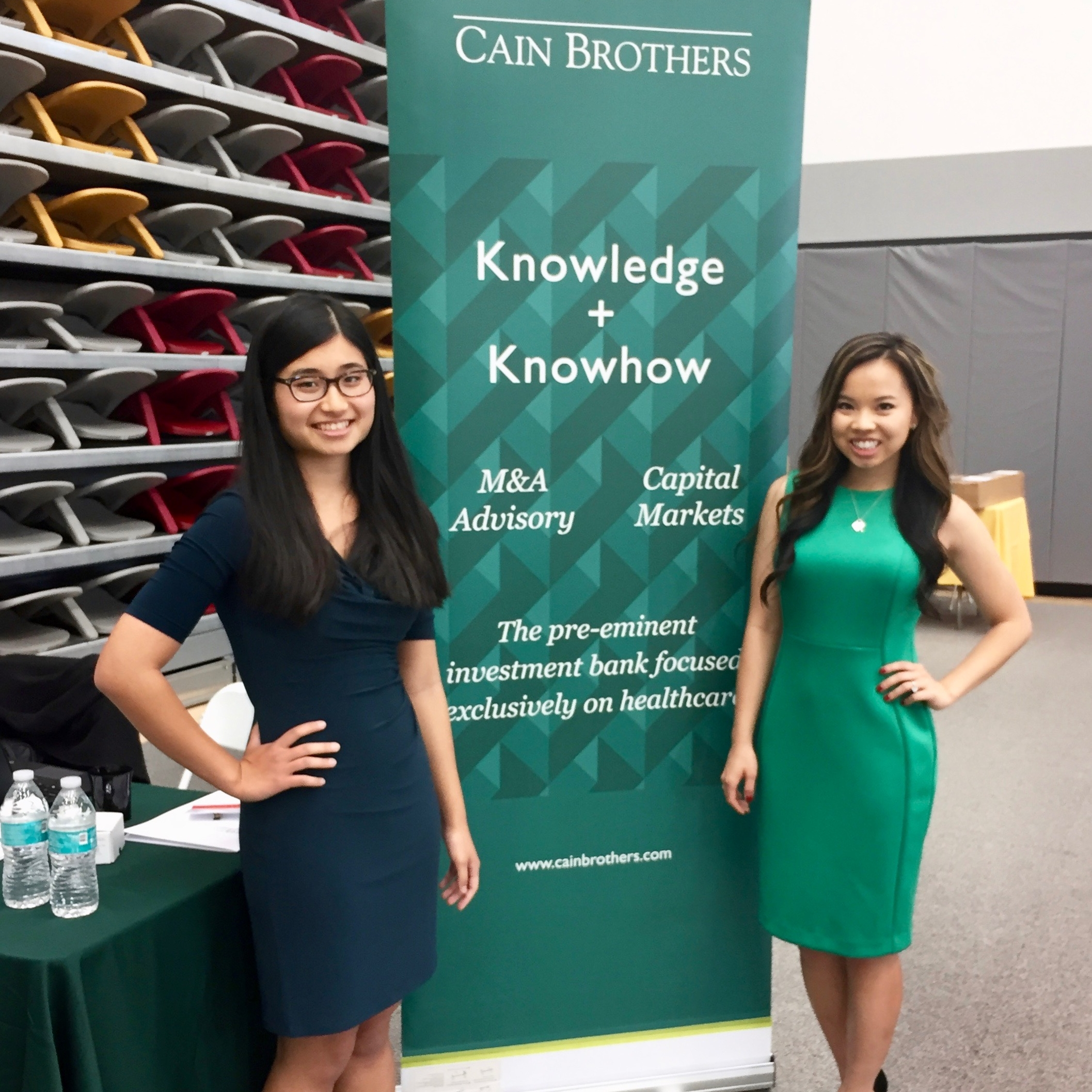 Pema Donyo '17 and Tierra Patmavanu '18 at CMC's 2017 Job Fair represeting Cain Brothers