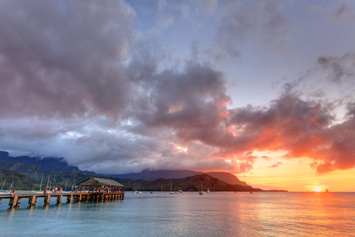 Hanalei Bay at Sunset with Pier.jpg