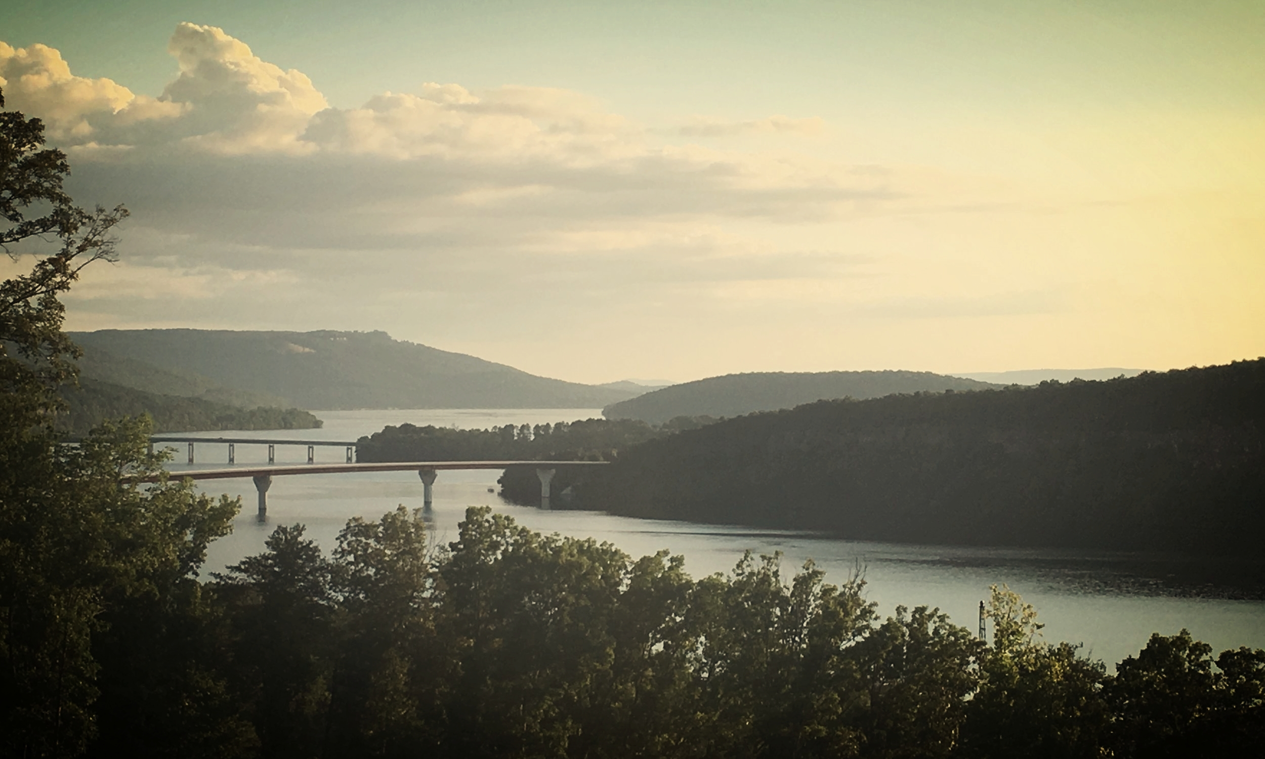 Evening view of the Tennessee River from Look Out Winery, 20 miles outside of Chattanooga, Tennessee. [ Photo - Anna Caro]