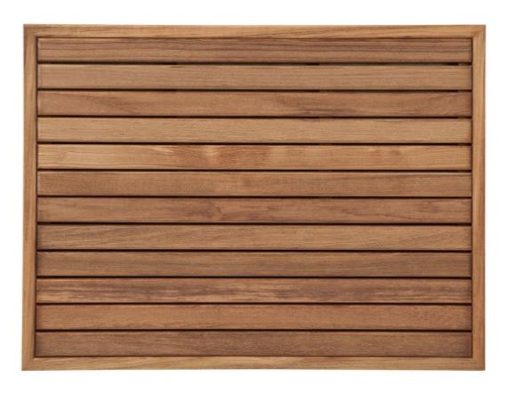 """Teak, please! - This made-in-the-USA bath mat is crafted from sustainably harvested Burmese Teak and features marine-grade stainless steel hardware and rubber footing for slip resistance.Looking for a long-lasting indoor/outdoor mat that looks great and adds a serene, natural vibe to your space? Look no further than this stylish teak bath mat from Natural Wood Decor. This mat is naturally mold and mildew resistant, and adds warmth to any space.Anna's Pick: Natural Wood Decor - Teak Mat with Narrow Frame, in oiled Burmese Teak ($166.00 for a 26-1/2"""" x 19-1/2"""" mat). Image Source: naturalwooddecor.com"""