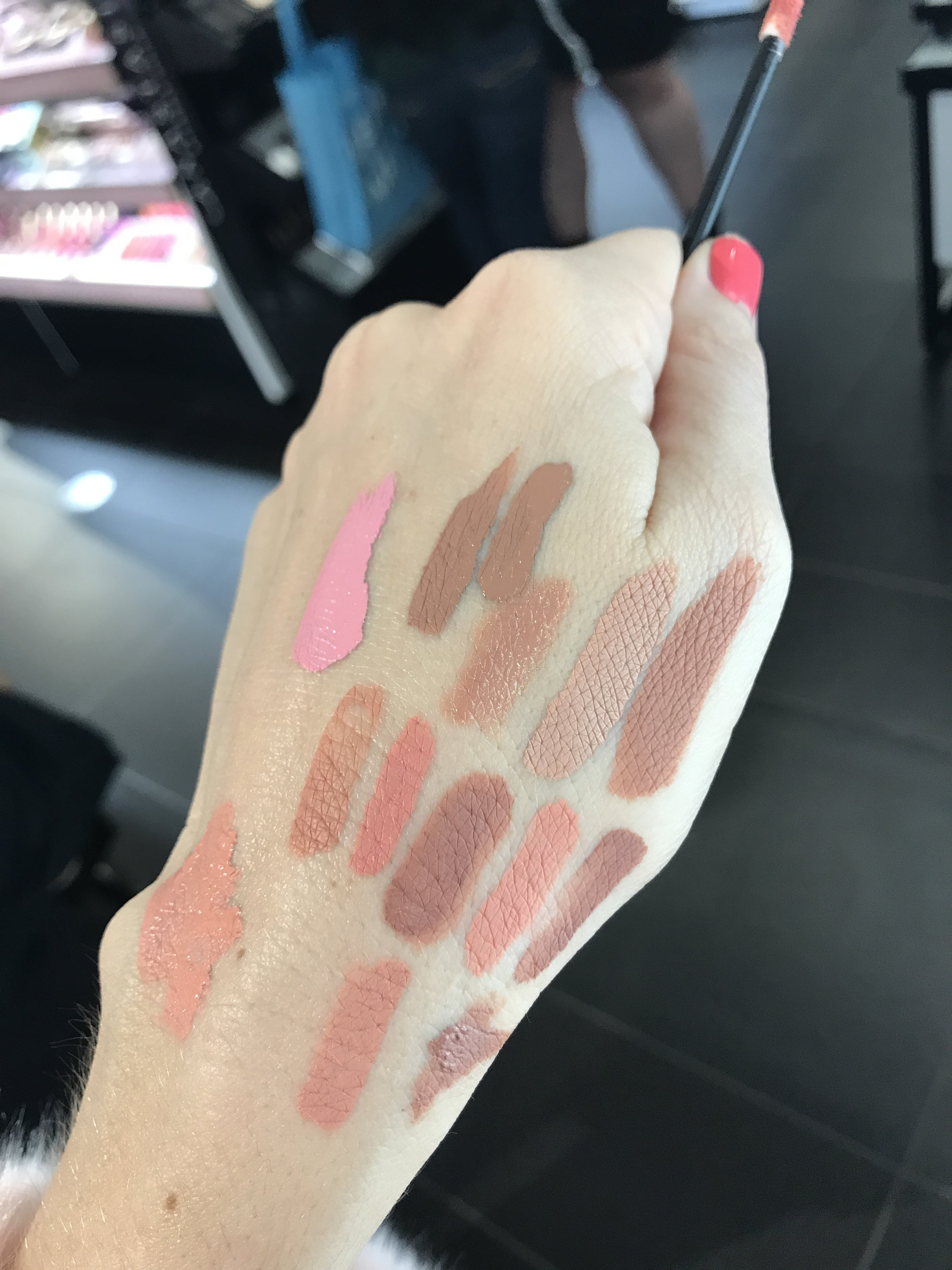 This was QUITE the challenge. Check out the swatches I was running around Sephora collecting.