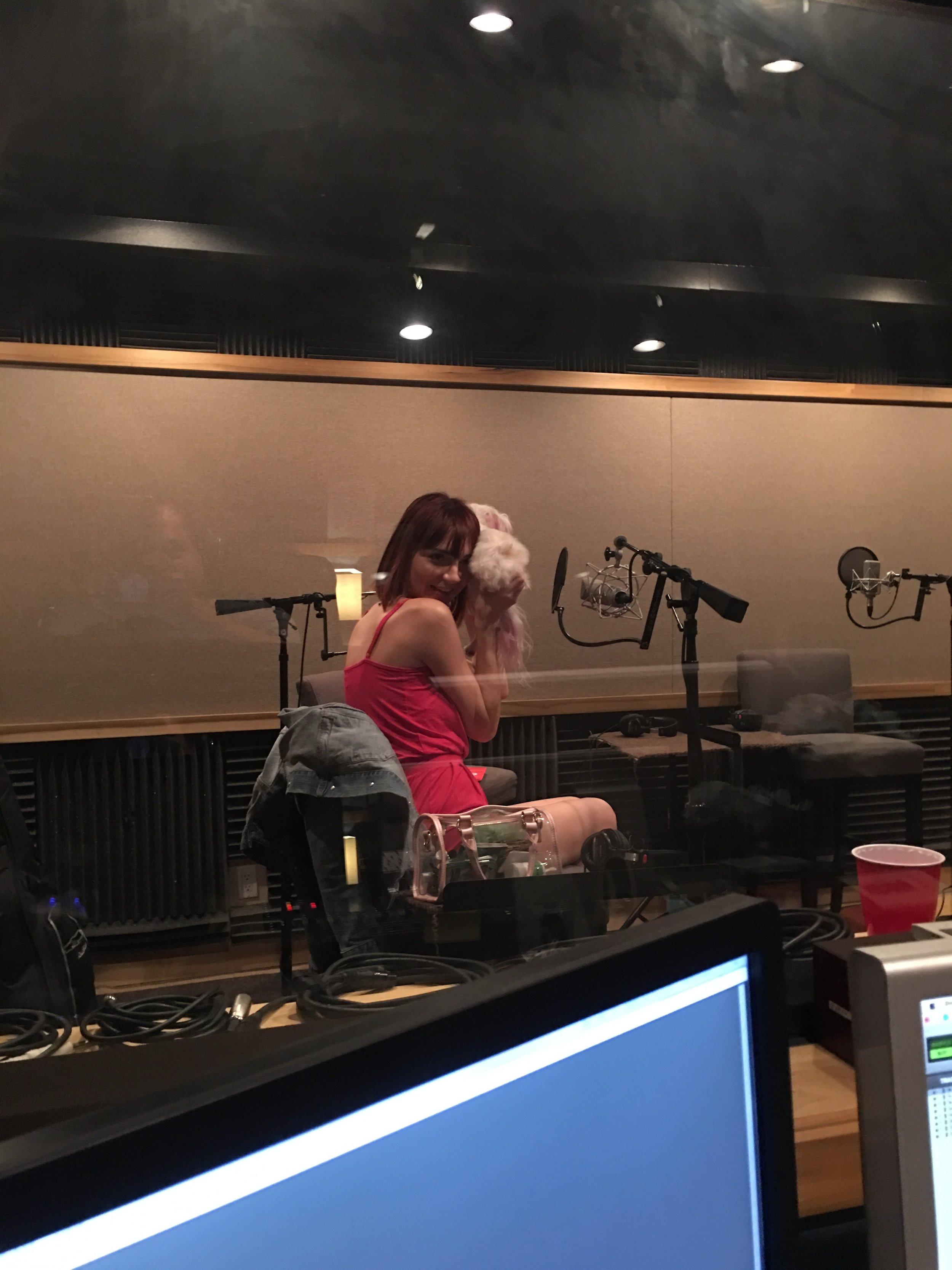 Chooch's little butt in the Feral Audio studio.