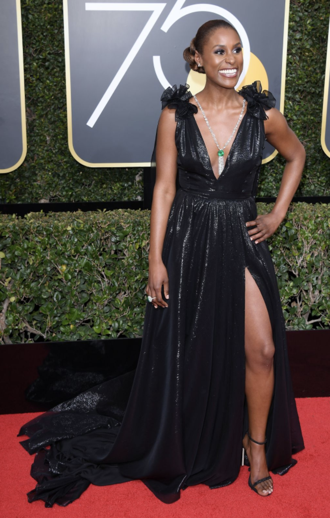Issa Rae - When I saw Issa with her confidant leg-pop, I audibly gasped with delight and awe. She shut it down. She is head-to-toe perfection! Smokey eye? YES. Dewey highlight? YEEEESSSSSSS. And her lip is literally the perfect nude on her. I wonder if she did the nipple test? My life goal is to find out what shade that is!
