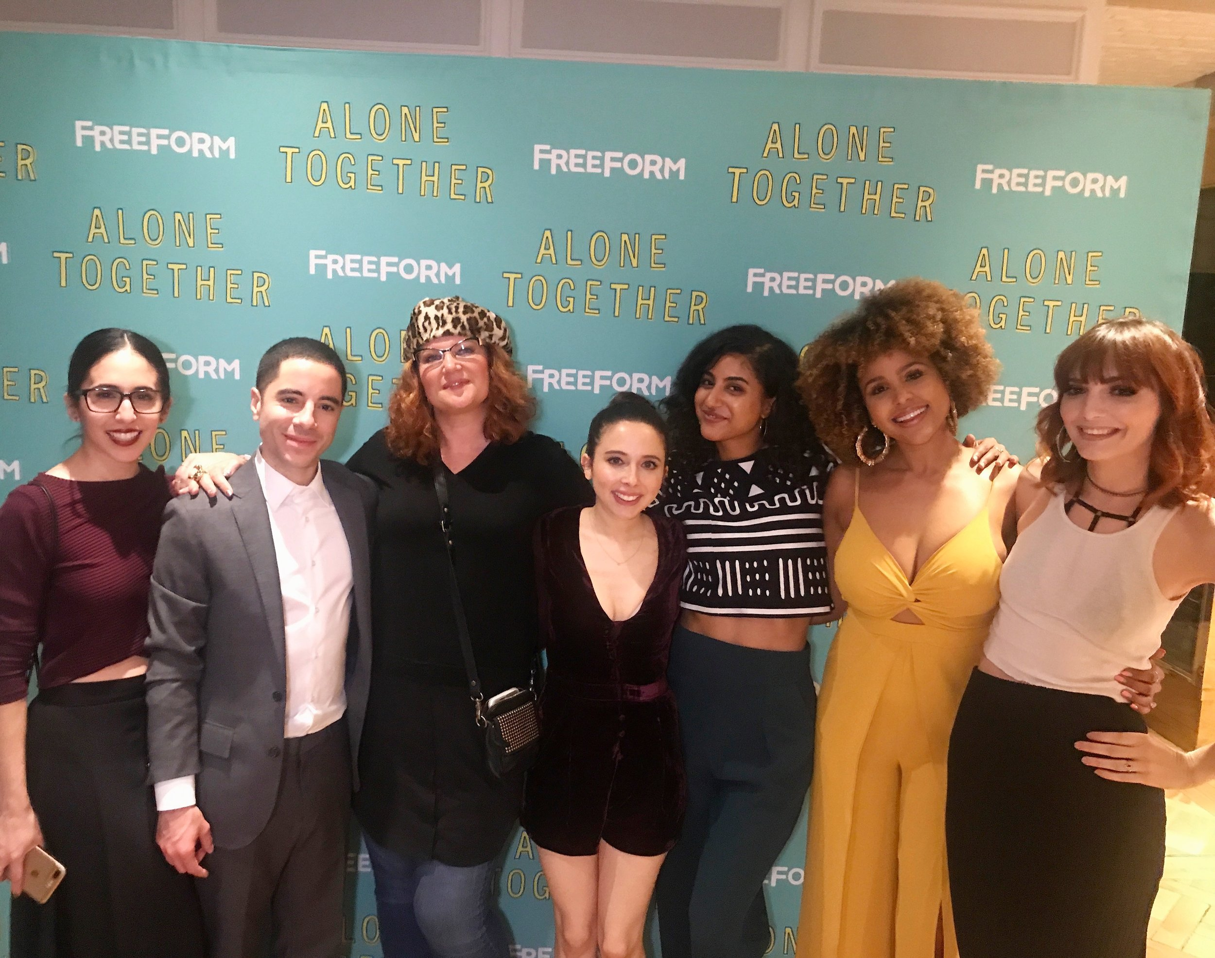 SO many beauts! From L to R: Gabrielle Ruiz, Benji Aflalo, Makeup artist Kymber Blake, Esther Povistky, Vella Lovell, Hayley Marie Norman, and ME, baby! We are so proud of Esther and excited for  Alone Together !