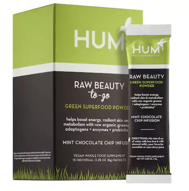 HUM Raw Beauty To-Go skin and energy superfood power- Mint Chocolate Chip  Helps boost energy, radiant skin + metabolism.