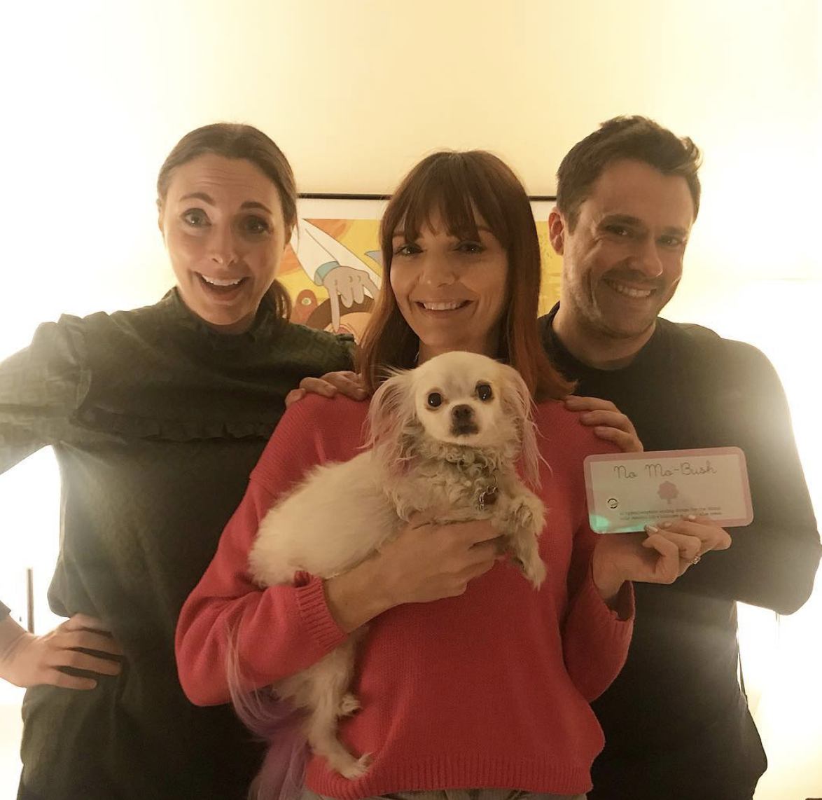 Hosts of Throwing Shade, Erin and Brian, with Jackie and the Chooch