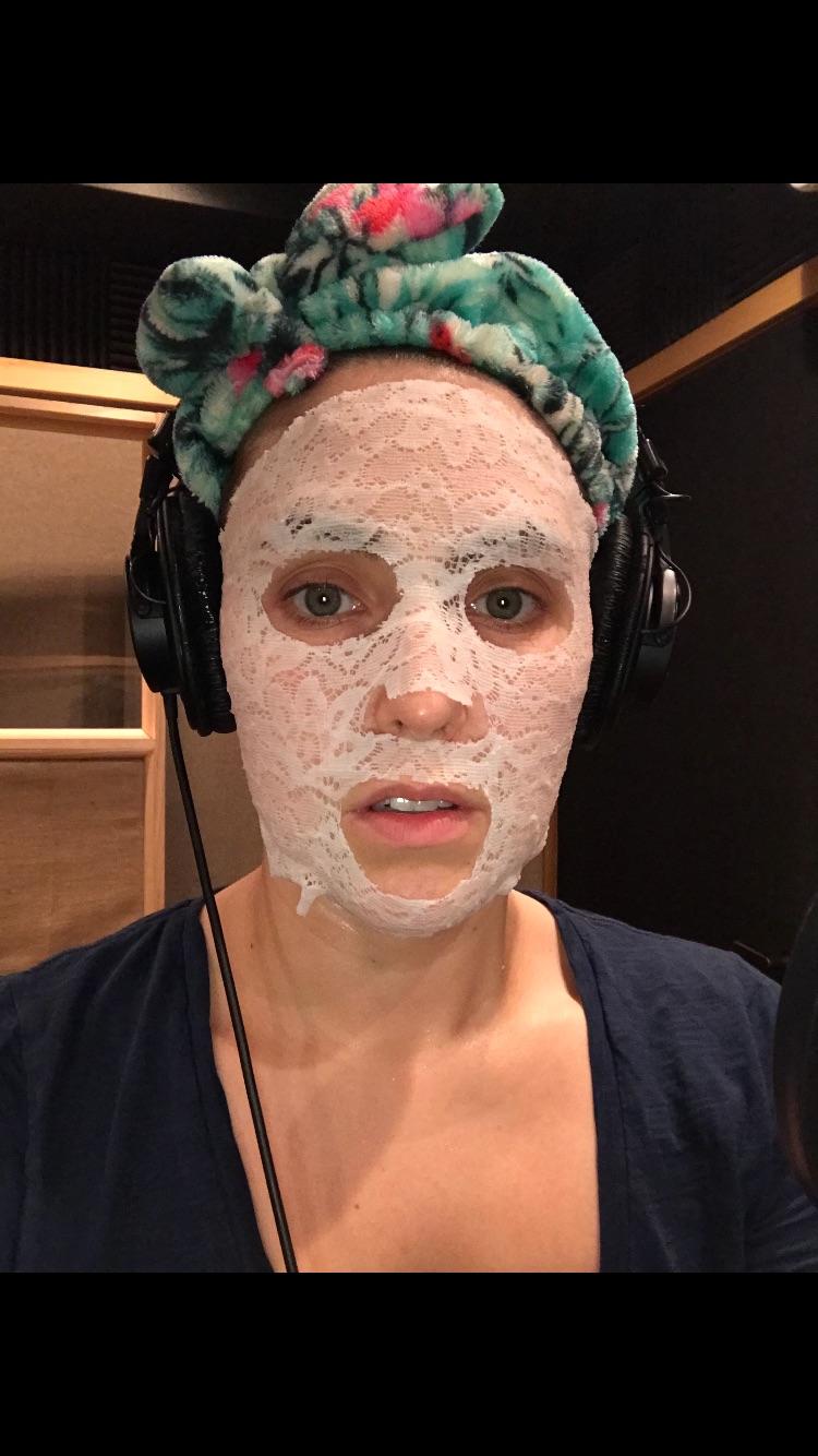 Lauren Adams wearing a Lace Your Face mask.