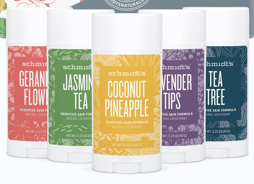 Schmidt's Natural Deodorant in Geranium Flower, Jasmine Tea, Coconut Pineapple, Lavender Tips and Tea Tree