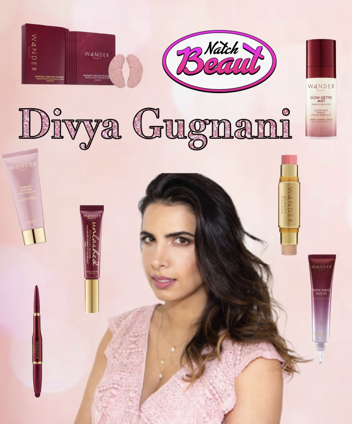 Divya Gugnani, founder of Wander Beauty, surrounded by some Wander Beauty products.