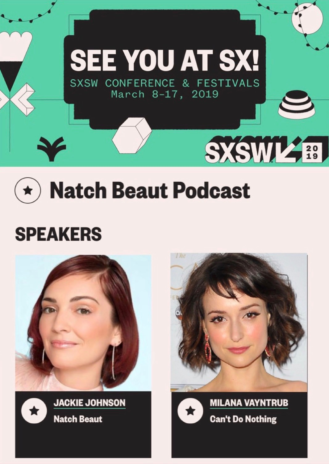 Poster for Natch Beaut at SXSW 2019 with guest Milana Vayntrub.