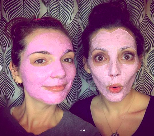 Jackie and her Sissy wearing the Pank Pitaya Mask by LOLI x Natch Beaut.