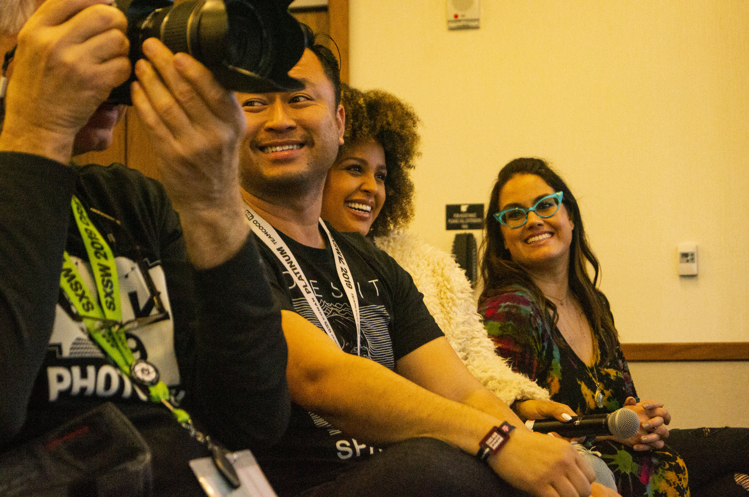 Audience members, including Hayley Marie Norman and Santina Muha.