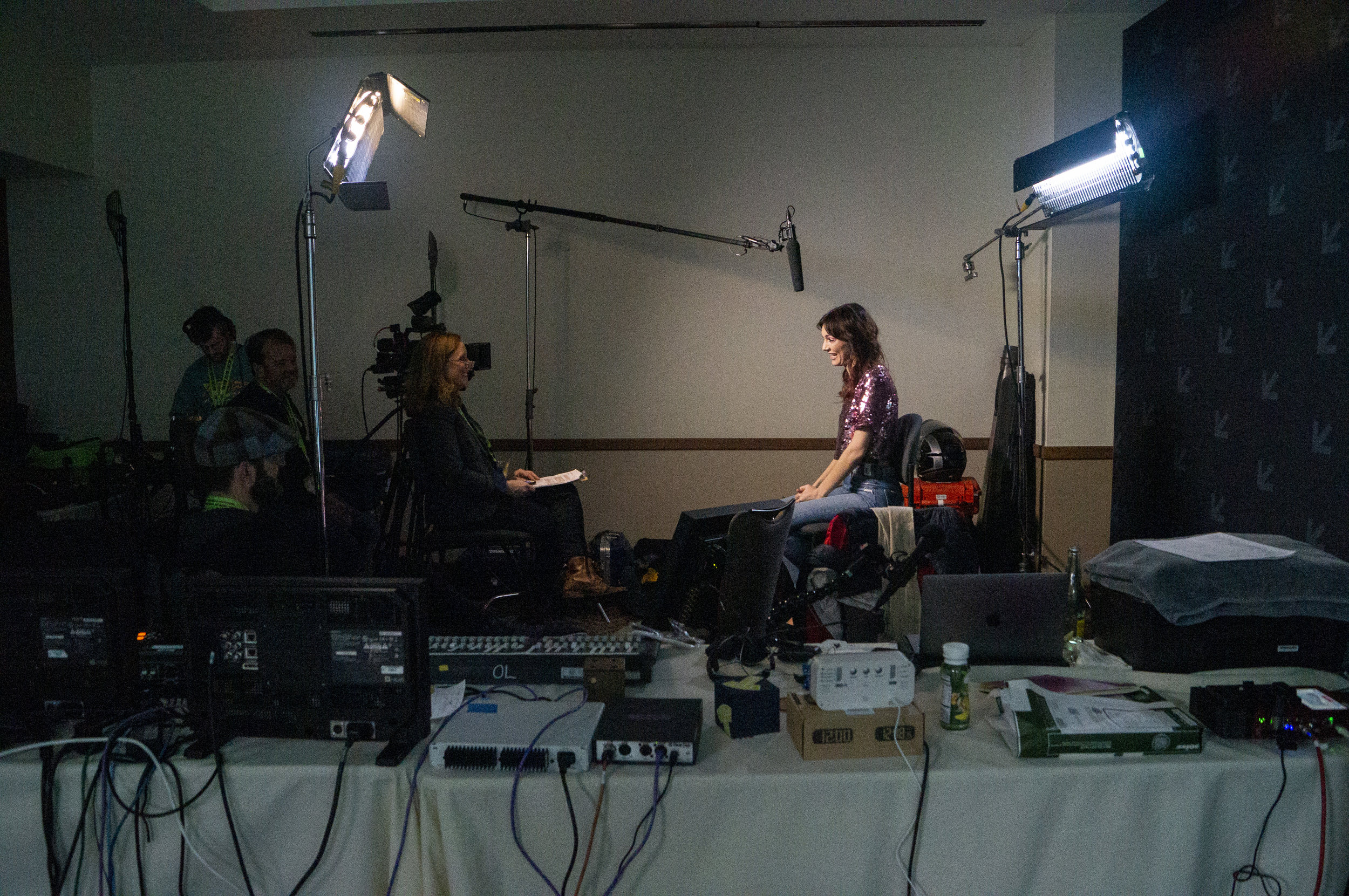Jackie Johnson being interviewed after her live recording.