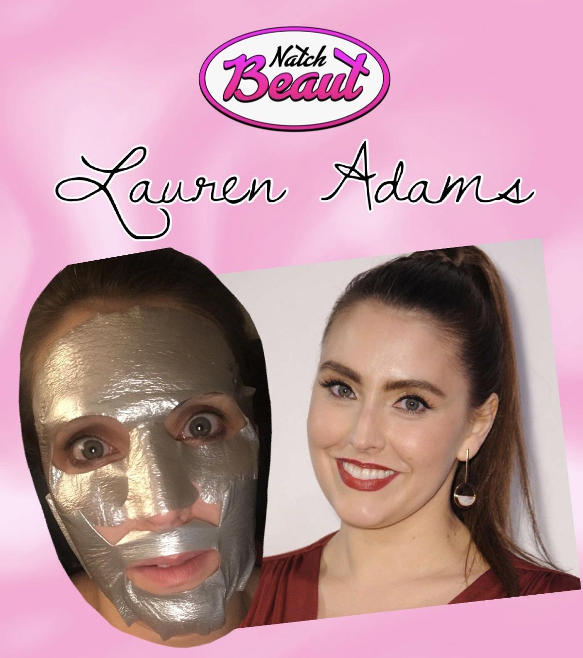 Actress Lauren Adams wearing a metallic gold sheet mask.