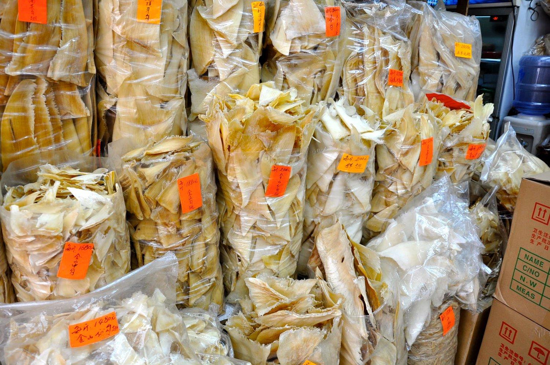 Bags of dried shark fins sold in Hong Kong. ©PangeaSeed