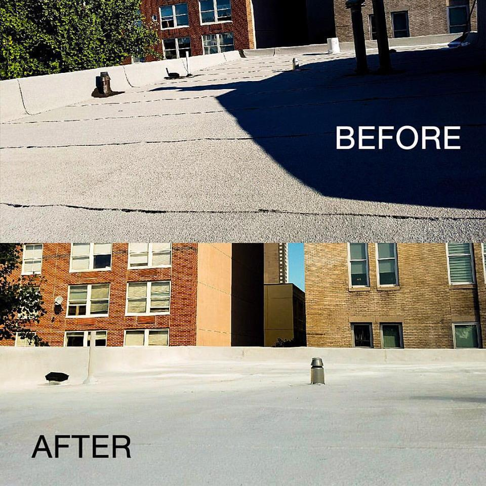 Before & after flat roof coating