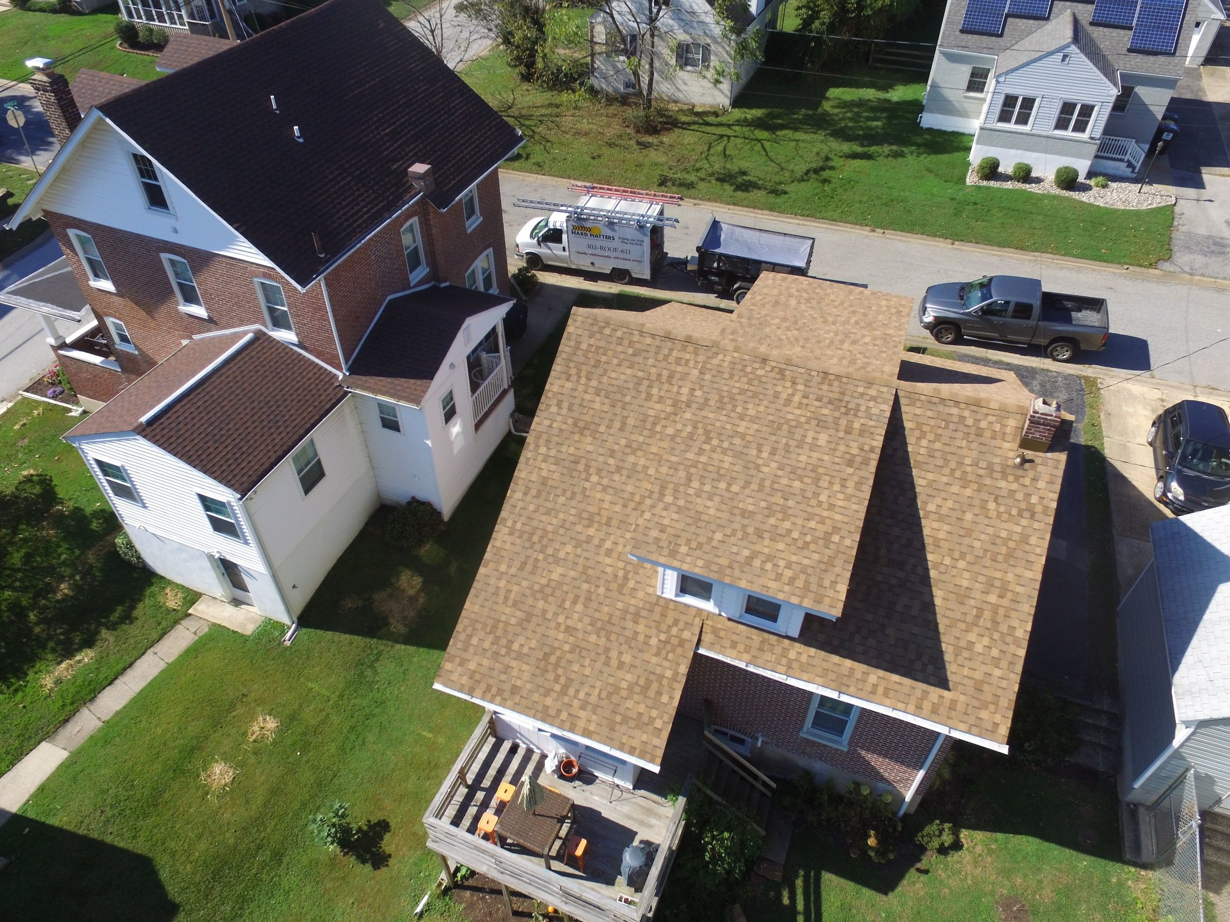 "Aerial shot of a 30 year Heritage HD shingle roof replacement in the color ""Rustic Cedar"". Comes equipped with a 30 year material warranty. This project costed $6,100."