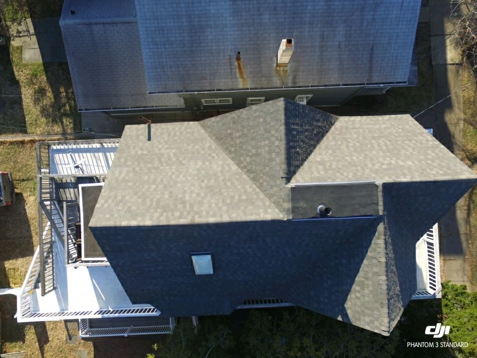 View from above of this Jersey rental property's roof replacement
