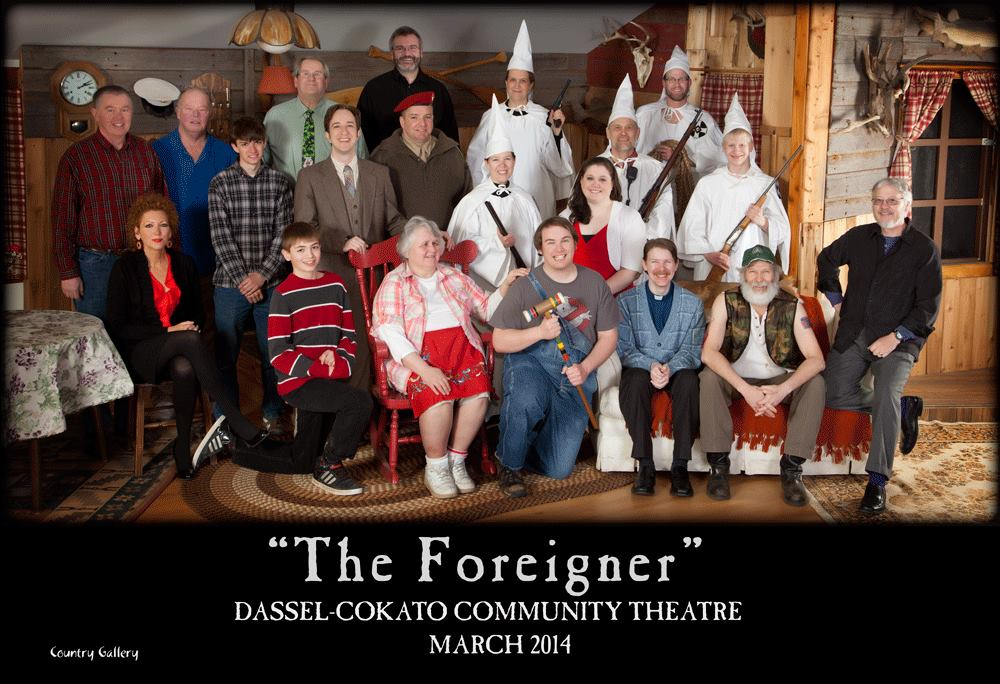 The Foreigner - by Larry ShueDirected by David Metcalf2014Pictured from Right to Left: (Front) William Frickstad, Linda Metcalf, Tom Nelson, Neal Hungerford, Ron Hungerford, David Metcalf (Middle) Deborah Moen, , Tom Langemo, Jeff Carpenter, Becky Hungerford, Elisabeth Nelson, Allan Sorenson, Isaac Olson (Back) Jim Veith, Butch Amundsen, Dan Kyllonen, Jami Berg, Rhea Langemo, Jesse Bunker