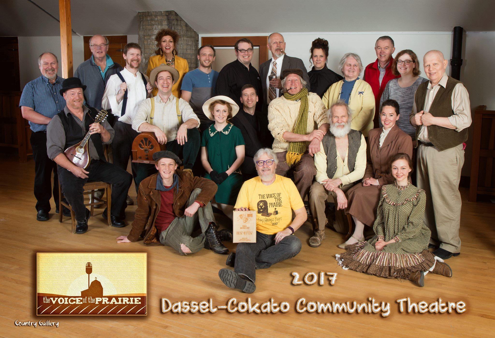 Voice of the Prairie - by John OliveDirected by David Metcalf2017 AACTFest (advanced to Nationals)Pictured from Left to Right: (Front) Peter Dinius, David Metcalf, Ellen Mielke (Middle) Scott Hanson, Tom Langemo, Jaclyn Rose-Thorson, Tim Gossweiler, Kurt Schulz, Ron Hungerford, Shara Marquez (Back) John Ryan, Butch Amundsen, Neal Hungerford, Deborah Moen, Chris Halstead, Tom Nelson, Jon Benson, Rhea Langemo, Linda Metcalf, Jim Veith, Elisabeth Nelson, Mike Ackerman
