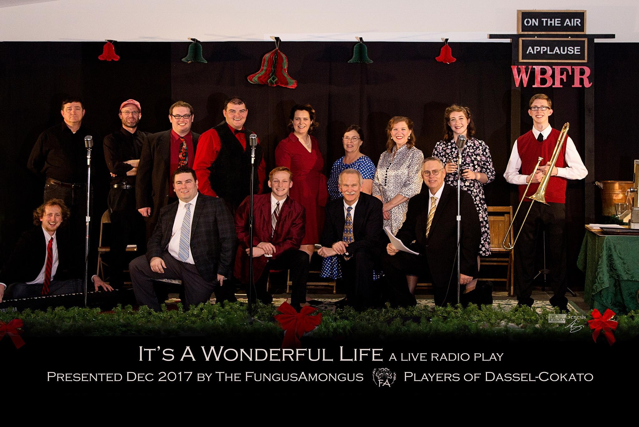 It's a Wonderful Life: A Live Radio Play - by Joe LandryDirected by Tom NelsonDecember 2017Pictured from Left to Right: (Front) Bergen Nelson, , Peter Dinius, Ron Hungerford, Terry Moore (Back) , Jesse Bunker, Tom Nelson, , Rhea Langemo, Name, Becky Hungerford, Erikka Langemo, Ethan Langemo