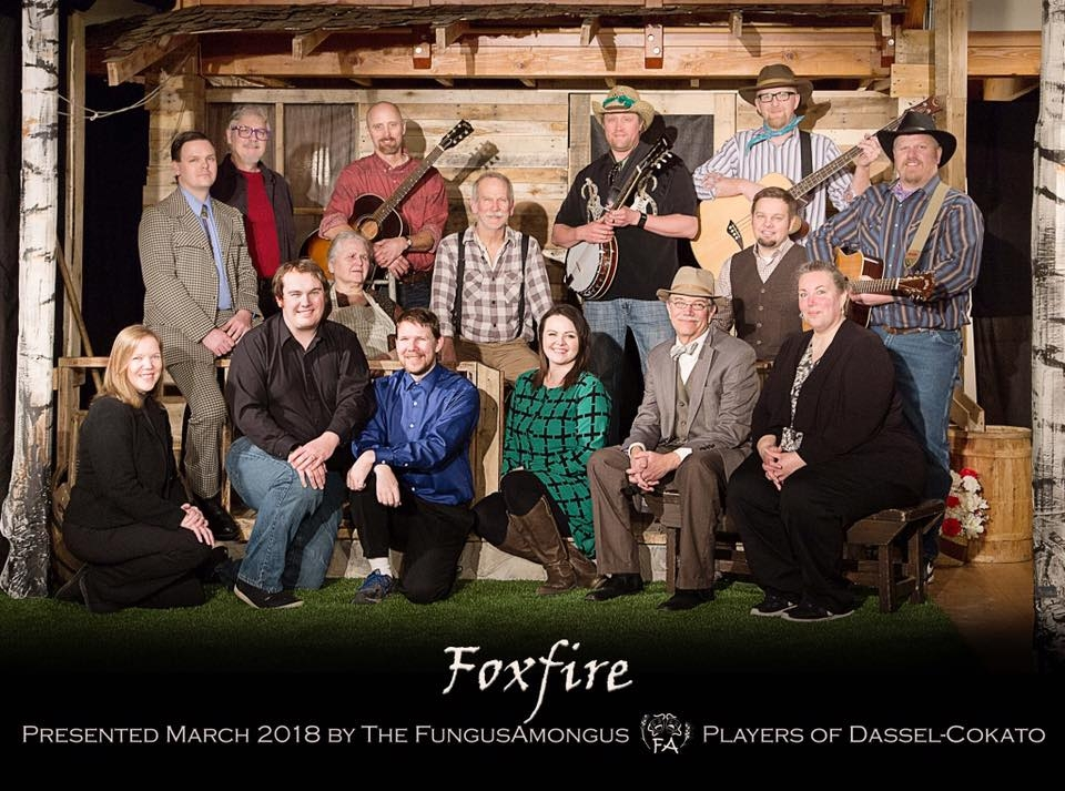 Foxfire - by Hume Cronyn and Susan Cooper, Music by Jonathan Holtzman, Lyrics by Susan Cooper and Hume CronynDirected by David MetcalfMarch 2018Pictured from Left to Right: (Front) Becky Hungerford, Tom Nelson, Neal Hungerford, Haley Jacobsen, Brad Robinson, Lisa Kotila (Back) Tom Johnson, David Metcalf, Linda Metcalf, Kirk Asplin, Ron Hungerford, Andy Rosenquist, Mark Keith, Name, Ron Holm