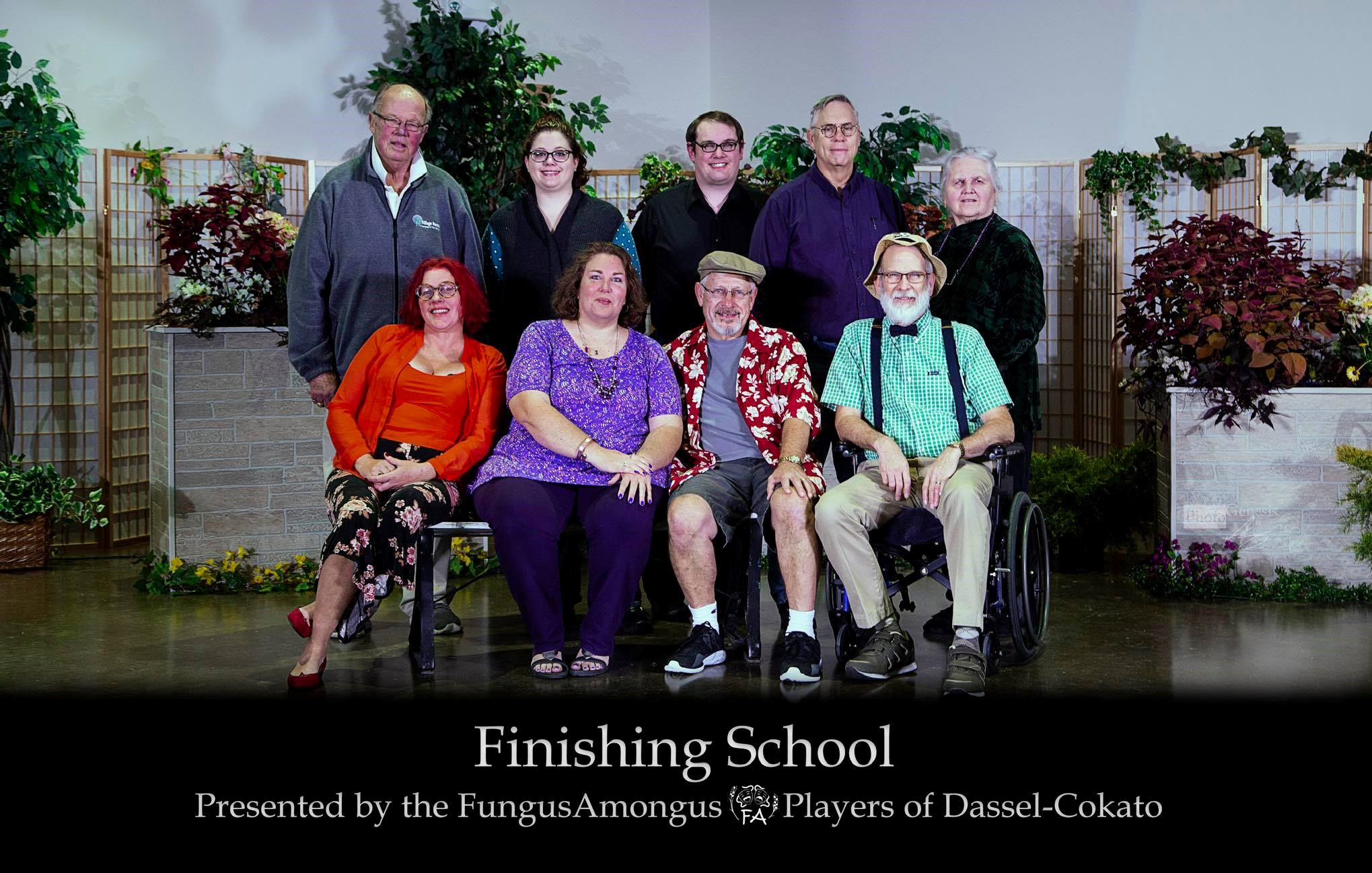 Finishing School - by Elaine LinerDirected by Linda MetcalfOctober 2018Pictured from Left to Right: (Front) Katrina Vaara, Lisa Kotila, Jon Benson, Ron Hungerford (Back) Butch Amundsen, Elisabeth Nelson, Tom Nelson, Terry Moore, Linda Metcalf