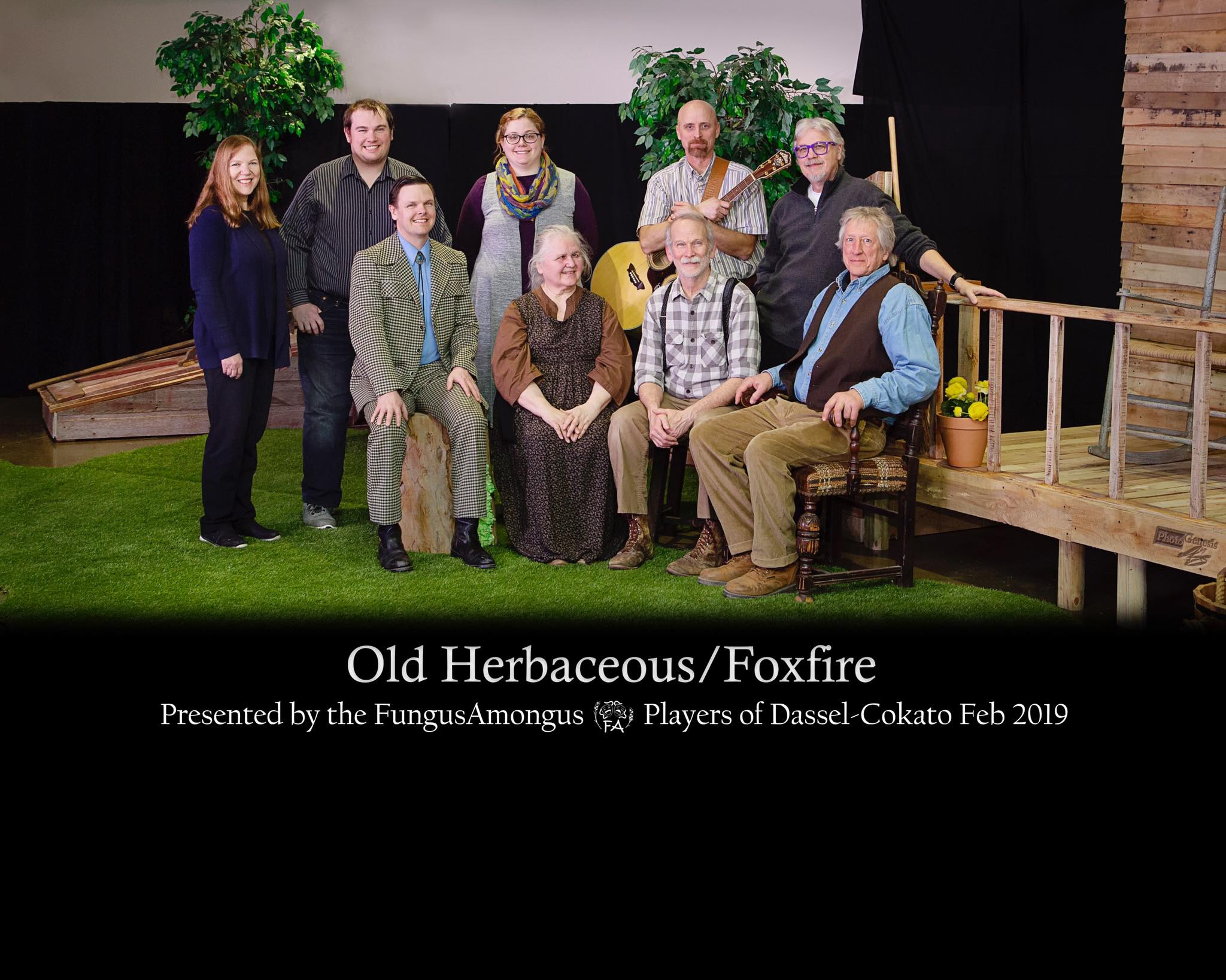"Old Herbaceous / Foxfire - ""Old Herbaceous"" by Alfred Shaughnessy, novel by Reginald Arkell / ""Foxfire"" script/lyrics by Hume Cronyn and Susan Cooper, music by Jonathan HoltzmanDirected by Kurt Schulz / Directed by David Metcalf""Foxfire"" 2019 AACTFest (advanced to Regions)Pictured Left to Right: (Front) Tom Johnson, Linda Metcalf, Ron Hungerford, Kurt Schulz (Back) Becky Hungerford, Tom Nelson, Elisabeth Nelson, Kirk Asplin, David Metcalf"