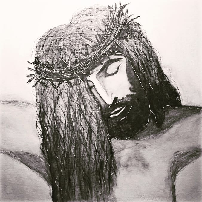 M Sweet Lord Jesus, White Gesso & Black Charcoal on Canvas, 10x10, ConstanceReeder.Com