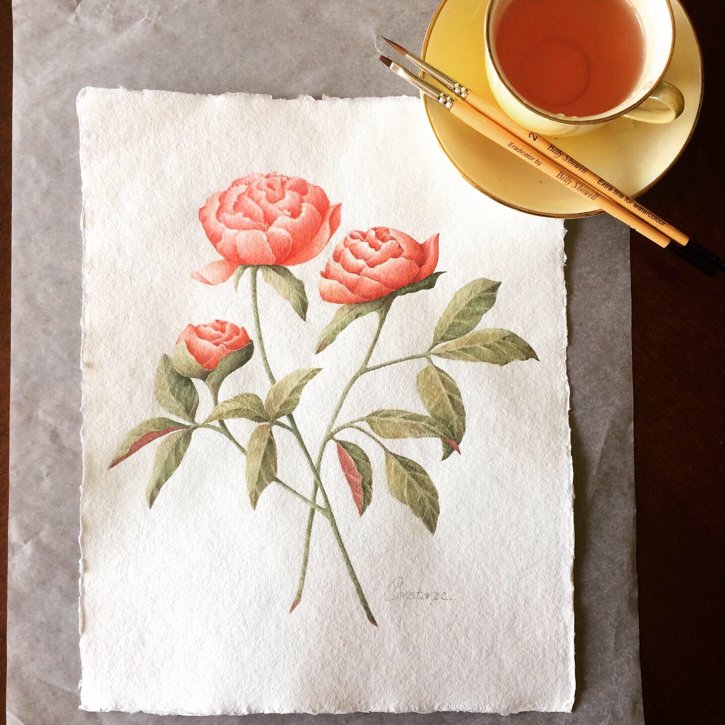 """Original Peony Watercolor Composition, Handmade Paper, 8.5x11"""" - A Commissioned Piece"""