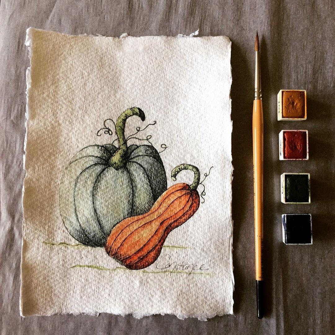 Pumpkin Squash Original Watercolor on Handmade Paper