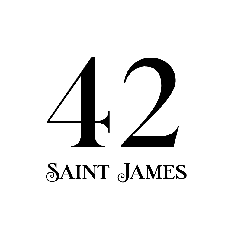 42 Saint James   42 Saint James is a bold addition to downtown Atlanta. Catering to an upscale clientele, the building features spacious condos and a lush courtyard. The flourishes on the logo echo the design of the wrought iron gates.