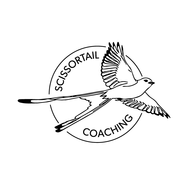 Scissortail Coaching   Logo for a wellness coaching business in Oklahoma. The client wanted to convey the power of launching into a renewed sense of self. I illustrated a simplified Scissortail and designed a passport-style stamp.
