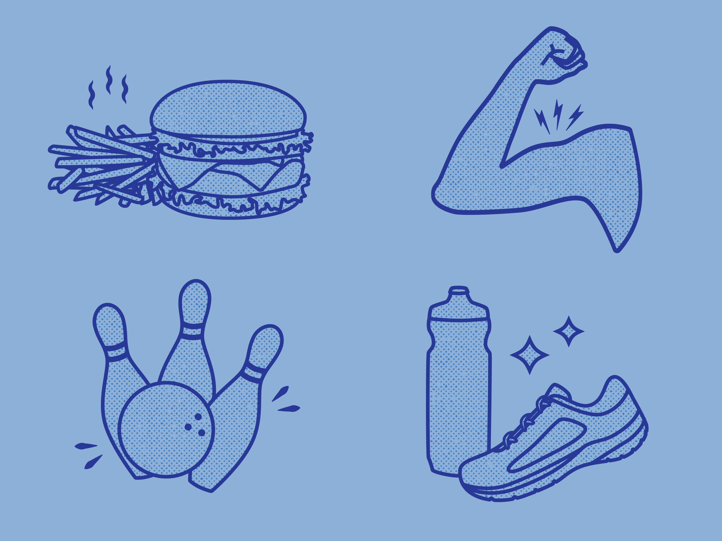 Icons created for the Get Active Card, a new offering that benefits Marathon Kids.