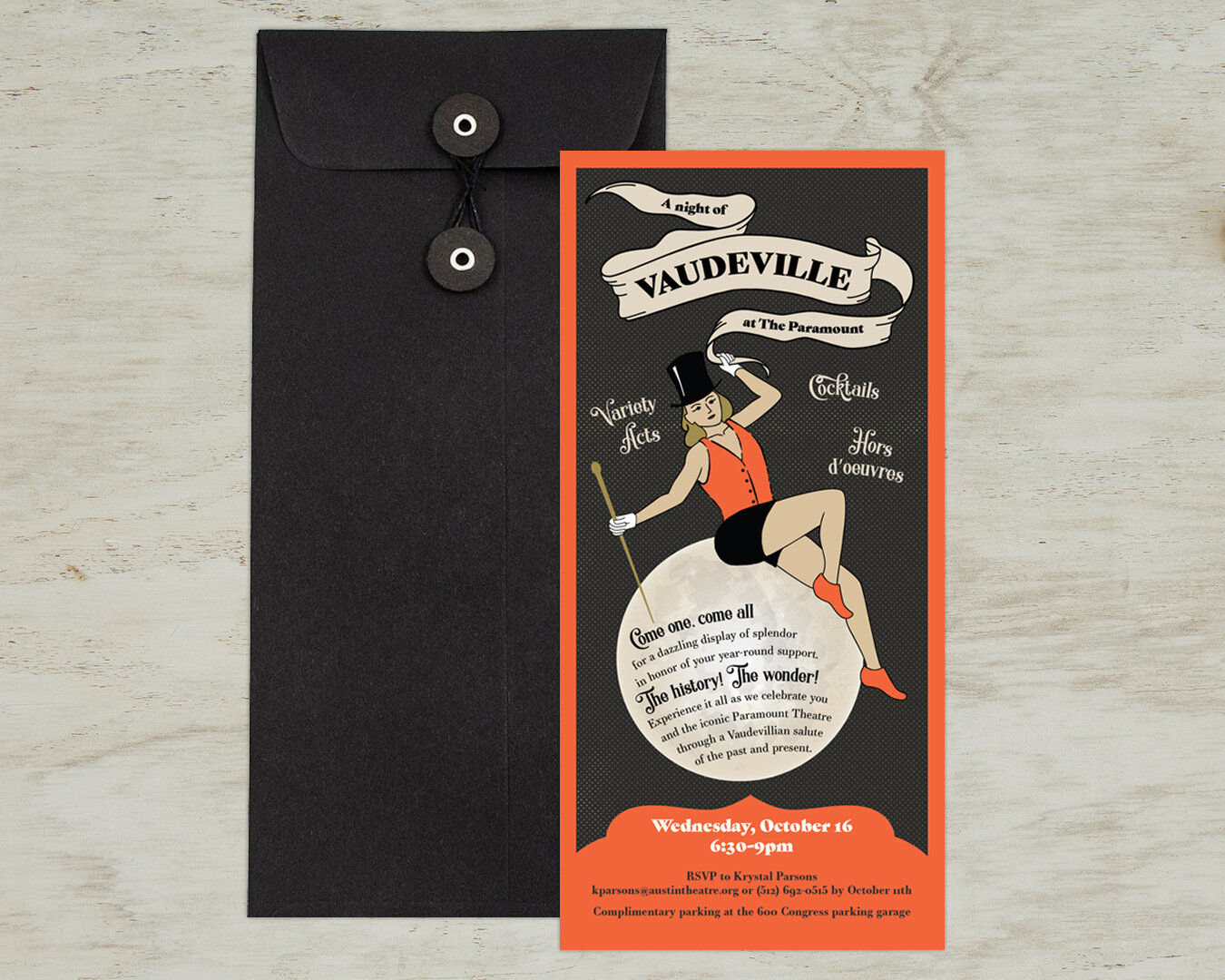 Custom invitation designed for a donor event at The Paramount.