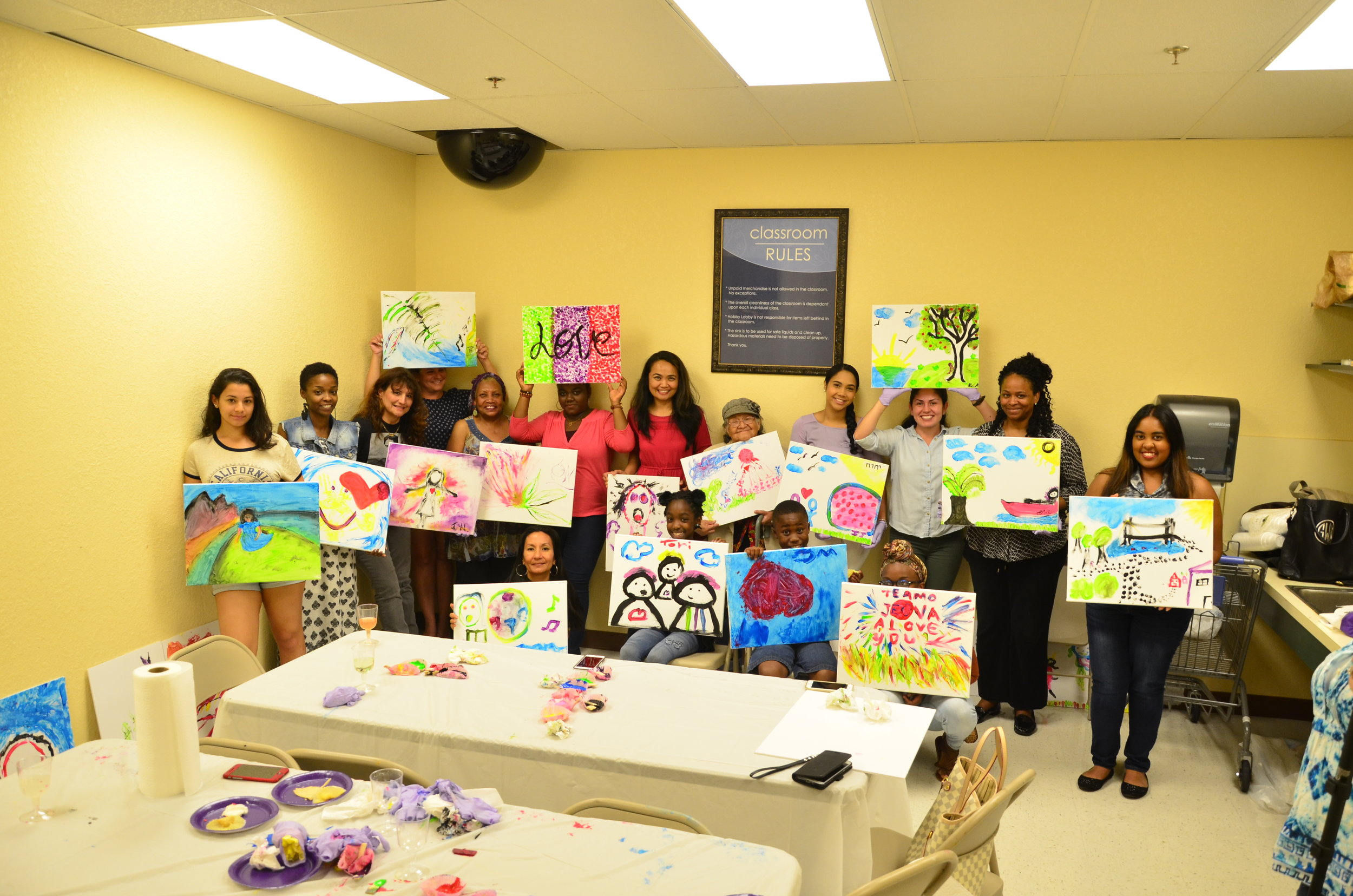 This is a fun, upbeat environment for women, teens and their families to learn, bond, grow & share practical lessons on how to release stress through art. Join us at our next workshop! -
