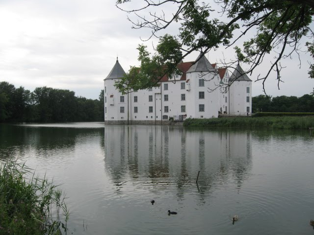 The castle, surrounded by water on three sides