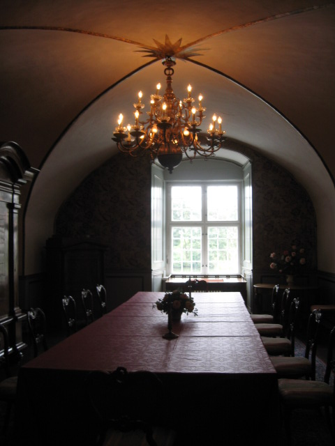the dome like ceiling was characteristic of the time period. a type of cheese, calk and egg white were used to make it!